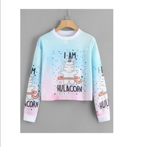 f90bb863690 Shirts & Tops | Hula Unicorn Sweatshirt Crop Top | Poshmark